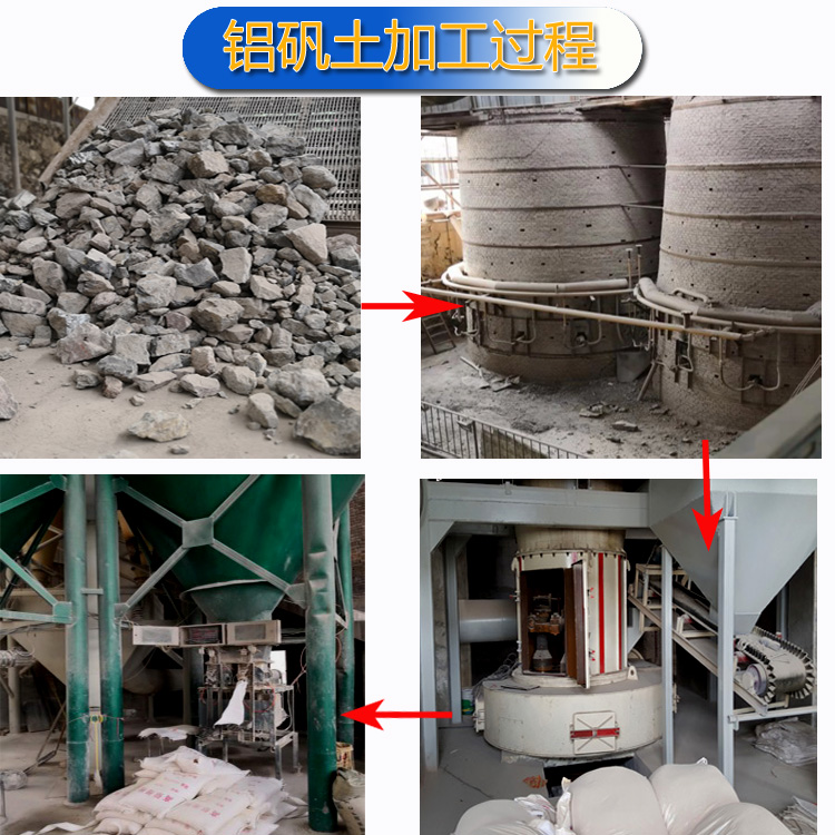 高铝细粉|铝矾土熟料|铝矾土厂家加工过程图